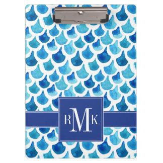 Blue Watercolor Scale Pattern Clipboard