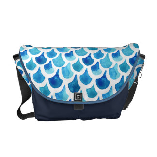 Blue Watercolor Scale Pattern Courier Bags