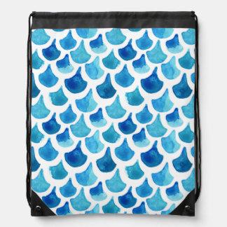 Blue Watercolor Scale Pattern Drawstring Bag