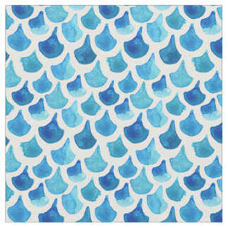 Blue Watercolor Scale Pattern Fabric