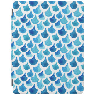 Blue Watercolor Scale Pattern iPad Cover