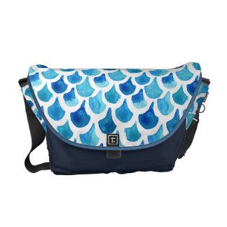 Blue Watercolor Scale Pattern Messenger Bag
