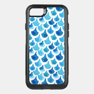 Blue Watercolor Scale Pattern OtterBox Commuter iPhone 8/7 Case
