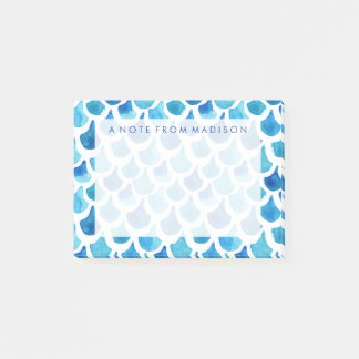 Blue Watercolor Scale Pattern Post-it Notes