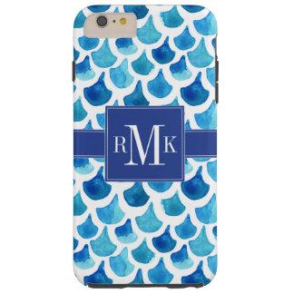 Blue Watercolor Scale Pattern Tough iPhone 6 Plus Case