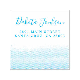 Blue Watercolor Seaside Wedding Return Address Self-inking Stamp