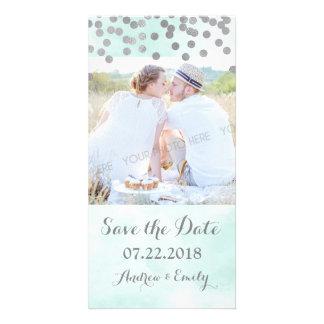 Blue Watercolor Silver Confetti Save the Date Card