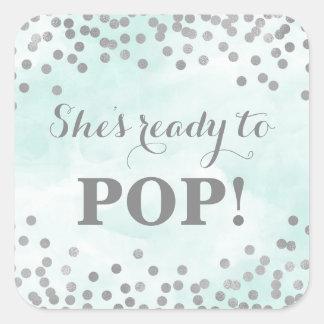 Blue Watercolor Silver Confetti She's Ready to Pop Square Sticker