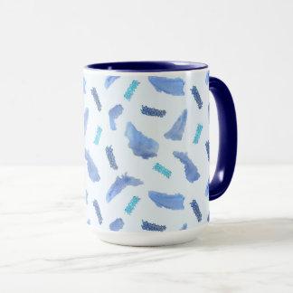 Blue Watercolor Spots 15 oz Combo Mug