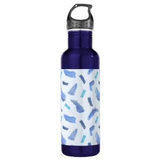 Blue Watercolor Spots 24 oz Water Bottle