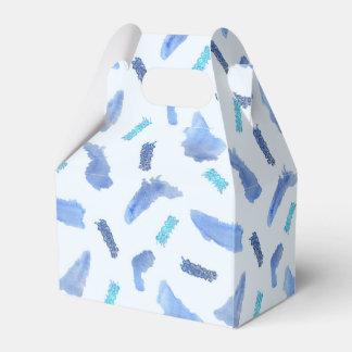 Blue Watercolor Spots Gable Favor Box