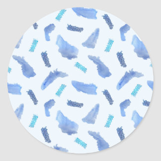 Blue Watercolor Spots Large Glossy Round Sticker