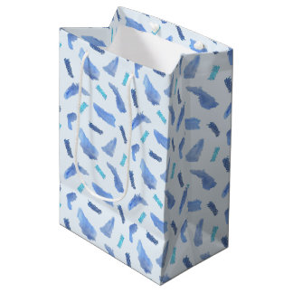 Blue Watercolor Spots Medium Glossy Gift Bag