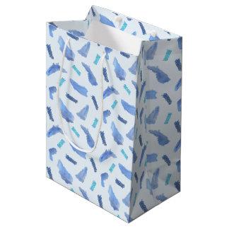 Blue Watercolor Spots Medium Matte Gift Bag