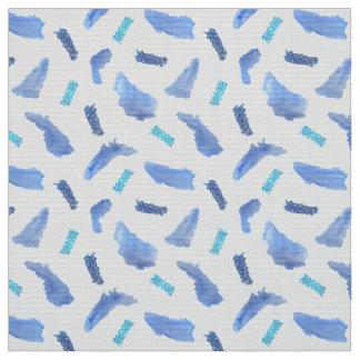 Blue Watercolor Spots Polyester Poplin Fabric