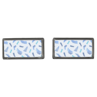 Blue Watercolor Spots Rectangle Cufflinks Gunmetal Finish Cufflinks