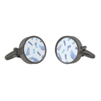 Blue Watercolor Spots Round Cufflinks Gunmetal Finish Cufflinks