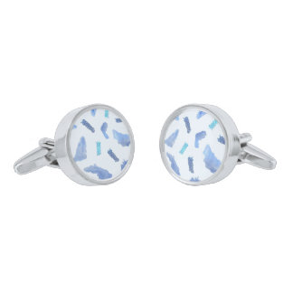 Blue Watercolor Spots Round Cufflinks Silver Finish Cuff Links