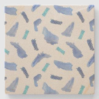 Blue Watercolor Spots Sandstone Coaster