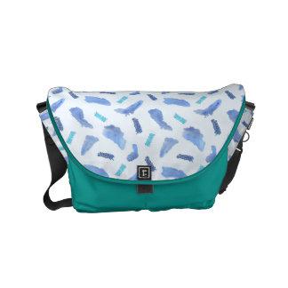 Blue Watercolor Spots Small Messenger Bag