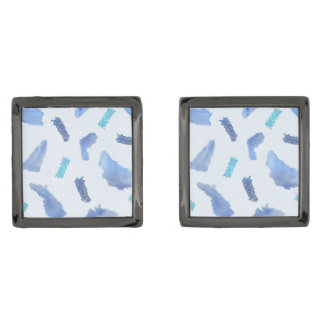 Blue Watercolor Spots Square Cufflinks Gunmetal Finish Cufflinks