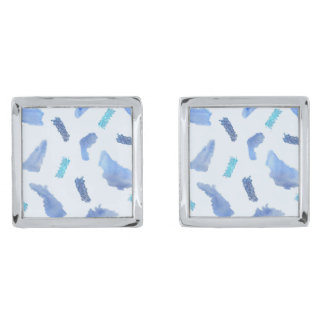 Blue Watercolor Spots Square Cufflinks Silver Finish Cuff Links