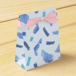 Blue Watercolor Spots Tent Favor Box