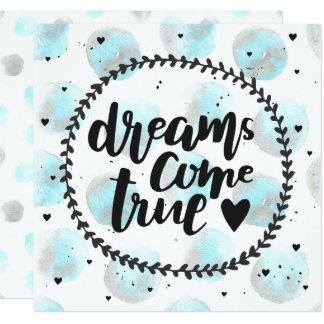 Blue watercolor stains. Dreams come true 13 Cm X 13 Cm Square Invitation Card