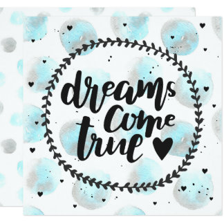 Blue watercolor stains. Dreams come true Card
