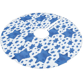 Blue Watercolor Star of David Brushed Polyester Tree Skirt