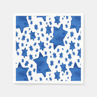 Blue Watercolor Star of David Disposable Napkin