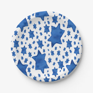 Blue Watercolor Star of David Paper Plate