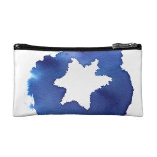 Blue Watercolor Star of David Resist Makeup Bag