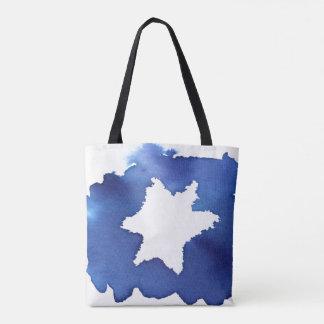 Blue Watercolor Star of David Resist Tote Bag