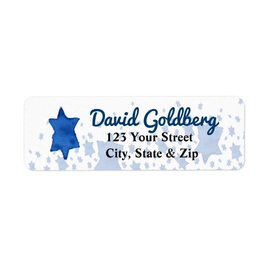 Blue Watercolor Star of David Return Address Label