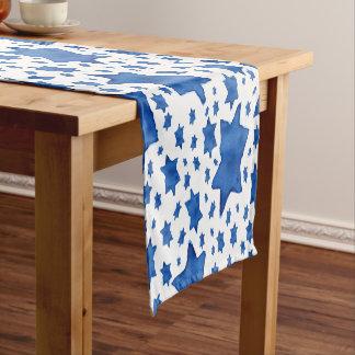Blue Watercolor Star of David Short Table Runner