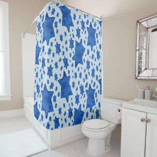Blue Watercolor Star of David Shower Curtain