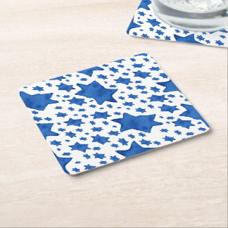 Blue Watercolor Star of David Square Paper Coaster