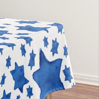 Blue Watercolor Star of David Tablecloth