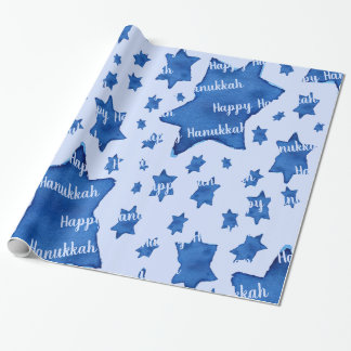 Blue Watercolor Star of David with Text Wrapping Paper