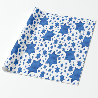 Blue Watercolor Star of David Wrapping Paper