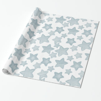 Blue Watercolor Stars Wrapping Paper