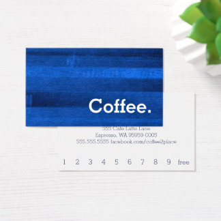 Blue Watercolor Stripe Loyalty Coffee Punch-Card Business Card