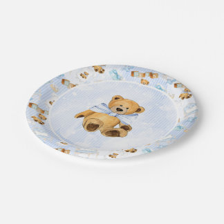 Blue Watercolor Stripes and Brown Teddy Bear Paper Plate