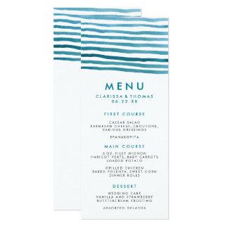 Blue Watercolor Stripes Menu Card