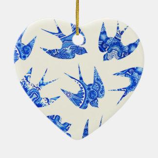 Blue Watercolor Swallow Bird Pattern Ceramic Heart Decoration
