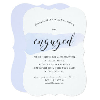 Blue Watercolor Swatch Wedding Engagement Party Card