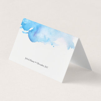 Blue watercolor Tent Cards | Wedding Place Cards