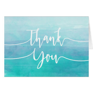 Blue Watercolor Thank You Card | Ombre Watercolor