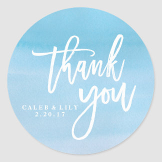 Blue watercolor Thank You sticker, label Round Sticker